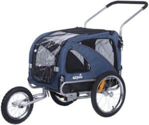 sepnine 2 in1 medium pet dog bike trailer bicycle carrier and stroller jogger 10201 blue
