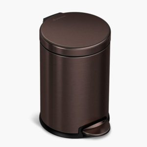 simplehuman 4 5 liter 1 2 gallon round bathroom step trash can dark bronze stainless steel