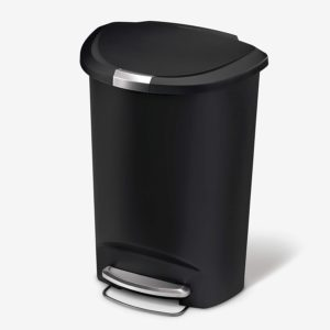 simplehuman 50 liter 13 gallon semi round kitchen step trash can black plastic with secure slide lock