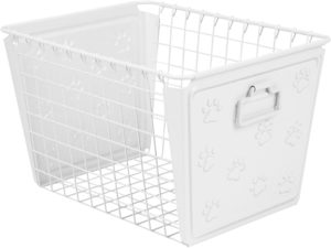 spectrum diversified paws macklin basket steel storage bin with cute pawprint design pet accessory organizer with rust resistant finish cat dog toy organization storage medium white