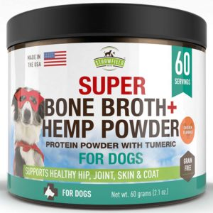 strawfield powdered bone broth for dogs 60 servings chicken dog food topper w organic turmeric hemp protein powder pumpkin glucosamine chondroitin for joint support arthritis pain relief usa