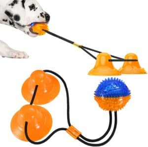 suction cup dog toy puppy rope chew toys interactive tug of war treat balls teething for small medium dogs indoors outdoors pets toys stress relief yellow