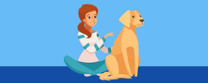 Girl next to a golden retriever