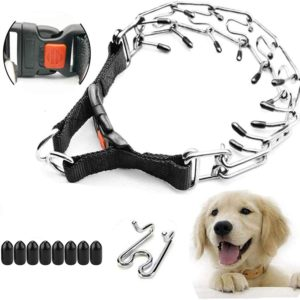 supet dog prong collar dog choke pinch training collar with quick release snap buckle for small medium large dogs