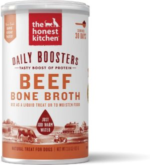 the honest kitchen daily boosts instant beef bone broth liquid treat with turmeric for dogs and cats