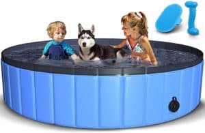tneltueb pet swimming pool for large dogs collapsible dog pool with pet brush dog chew toy foldable kiddie pool plastic pet bathing tub outdoor swimming pool for kids and dogs cats