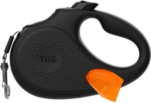tug oval 360 tangle free retractable dog leash with integrated waste bag dispenser