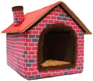 ushang pet indoor dog house for small medium large dogs red brick warm house for cat dog beds with soft pillow