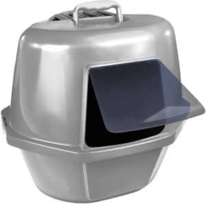 van ness corner enclosed cat pan silver large