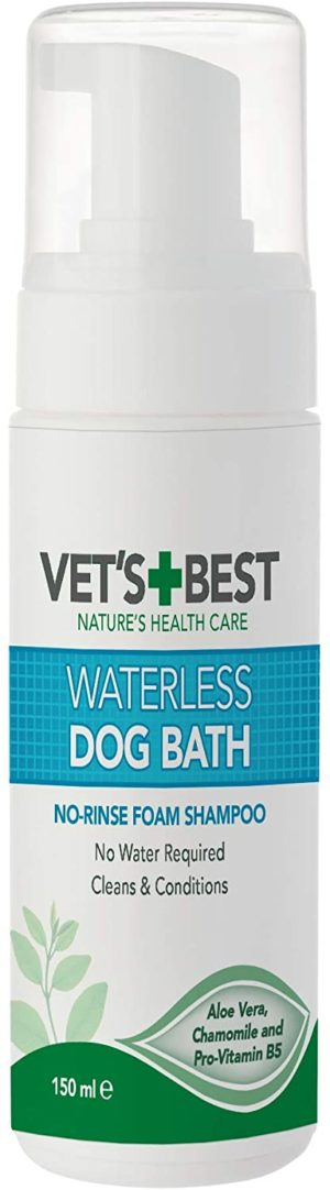 vets best waterless dog bath no rinse dry shampoo for dogs natural formula refreshes coat and controls odor between baths