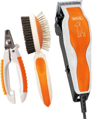 wahl groom pro pet clipper combo kit for thick heavy coats with nail clippers double sided pin bristle brush