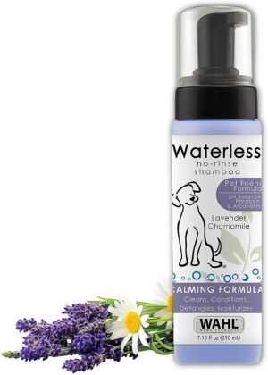 wahl pet friendly waterless no rinse shampoo for animals lavender chamomile for cleaning conditioning detangling moisturizing dogs cats horses