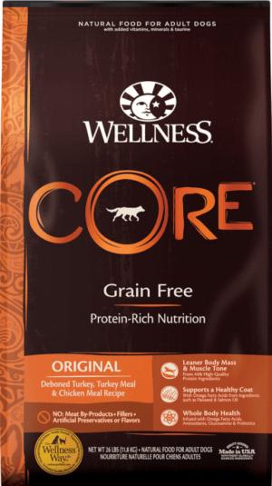 wellness core grain free original deboned turkey turkey meal chicken meal recipe dry dog food 1