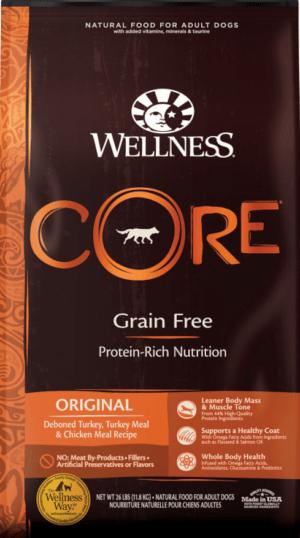 wellness core grain free original deboned turkey turkey meal chicken meal recipe dry dog food