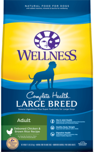wellness large breed complete health adult deboned chicken brown rice recipe dry dog food
