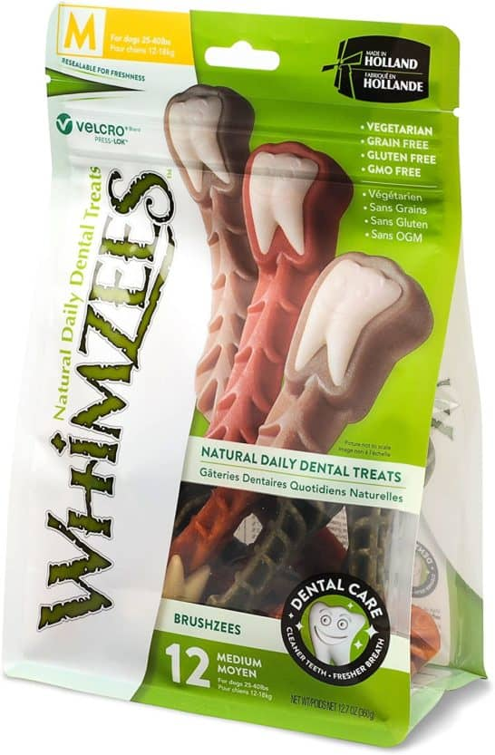 whimzees natural grain free dental dog treats brushzees