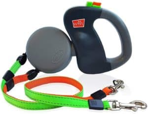 wigzi 2 two dog reflective retractable pet leash 360 degree zero tangle patent two dogs each up to 50 lbs and 10ft reflective orange and green leads dual locking
