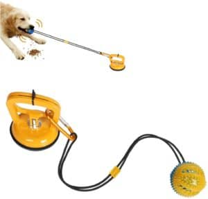 wosweet dog chew suction cup toys interactive dog tug of war toy pet aggressive chewers multifunction squeaky toys ball with teeth cleaning and food dispensing features