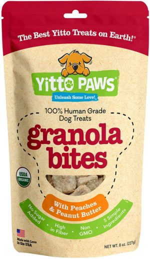 Can dogs eat peaches? yitto paws dog treats organic human grade dog snacks made with real fruit and peanut butter
