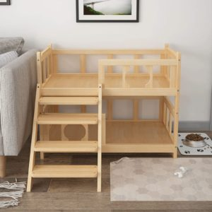 yyao wooden pet bed dogcat bunk bed3
