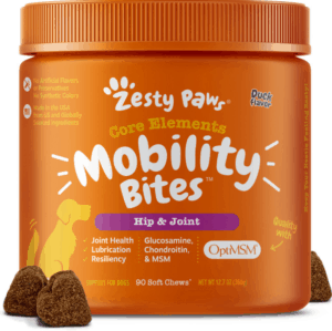 zesty paws mobility bites hip joint support soft chews duck flavor dog supplement